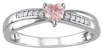 Other Sterling Silver 13 Ct Pink Morganite Diamond Heart Crossover Engagement Ring