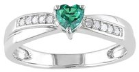 Other Sterling Silver 13 Ct Green Emerald And Diamond Heart Crossover Engagement Ring