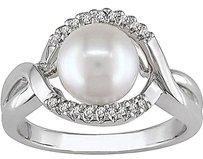 Other Sterling Silver 7-8 Mm Freshwater Cultured Pearl Diamond Ring .06 Ct G-h I3 925