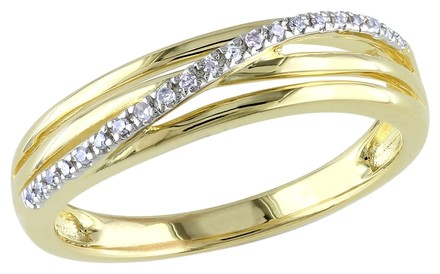 Other Yellow Sterling Silver Diamond Fashion Twist Crossover Ring I3