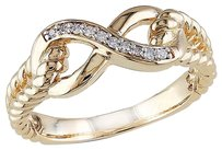 10k Yellow Gold Diamond Eternal Infinity Crossover Fashion Ring Gh I1-i2