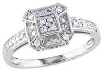 Other Amour 10k White Gold 110 Ct Tdw Diamond Geometric Fashion Ring G-h Color I1-i2