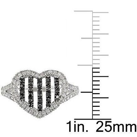 Other Amour 10k Gold 13 Ct Tdw Black And White Diamond Heart Love Ring H-i I2-i3