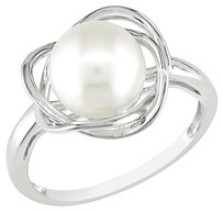 Sterling Silver 8.5-9 Mm Freshwater Pearl White Sapphire Fashion Wedding Ring