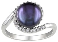 Sterling Silver 9-9.5 Mm Black Freshwater Pearl Diamond Ring 0.1 Ct H-i I2-i3