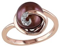 0.02 Ct Diamond 9 - 9.5 Mm Chocolate Freshwater Pearl Ring Pink Silver Gh I2i3
