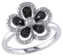 Other Sterling Silver Black And White Diamond Fashion Flower Ring Gh I2i3
