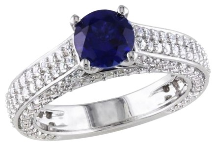 Other Sterling Silver 3 Ct Tgw White Sapphire And Blue Sapphire Fashion Ring