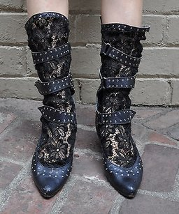 El Vaquero Lace Buckle Black Boots
