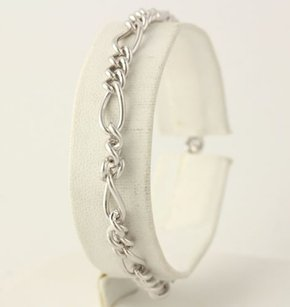 Other Figaro Chain Charm Bracelet - Sterling Silver 925 Womens 7 Spring Ring Clasp