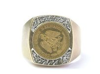 Other Fine 22kt Coin Diamond Yellow Gold 14kt Ring .12ct