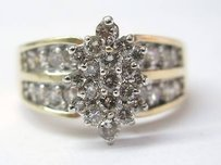 Fine Cluster Diamond Yellow Gold Jewelry Ring Yg 1.96ct