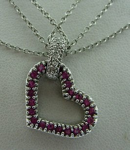 Fine Estate 14k White Gold Pink Stone Heart Diamond Pendant Necklace