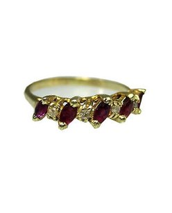 Fine Estate 14k Yellow Gold Red Stone Diamond Ladies Ring 8.25