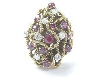 Fine Gem Ruby Diamond Cluster Yellow Gold Jewelry Ring 14kt 1.40ct