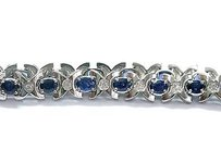 Fine Gem Sapphire Diamond White Gold Tennis Bracelet 7.5 6.66ct