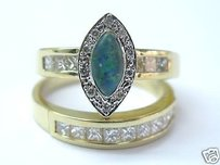 Fine Opal Triplet Two Ring Engagement Diamond Ring 14kt