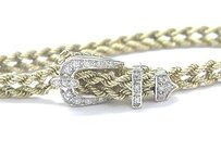 Fine Rope Buckle Diamond Yellow Gold Bracelet 7.5 .30ct