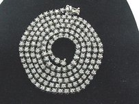 Fine Round Cut Diamond White Gold Riviere Necklace 14kt 167-stones 13.00ct 32