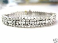 Fine 13.68ct Asscher Cut Diamond Tennis Bracelet 14kt