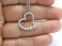 Other Fine 14kt Round Cut Graduated Diamond Heart Pendant Necklace Wg .85ct F - G