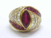 Fine 18kt Gem Ruby Diamond Designer Ring Yg 4.35ct