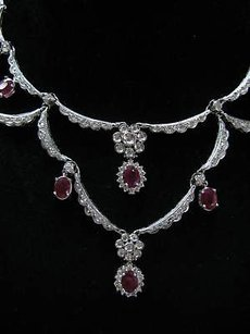 Fine Gem Ruby Diamond Designer Necklace Wg 9.85ct