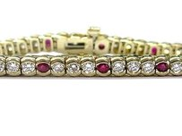 Fine Gem Ruby Diamond Yellow Gold Tennis Bracelet Yg 3.96ct