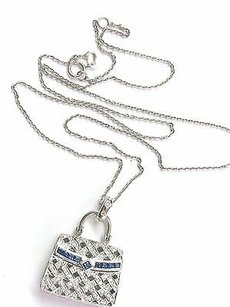 Fine Gem Sapphire Diamond Purse Pendant Necklace Wg .76ct