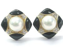 Other Fine Mabe Pearls Onyx Diamodn Yellow Gold Earrings 10mm .24ct