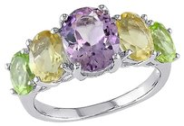 Sterling Silver 4 25 Ct Tgw Amethyst Citrine Peridot Five Stone Fashion Ring