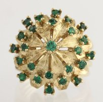 Flower Cocktail Ring - 14k Yellow Gold Green Garnet Glass Triplet Tiered