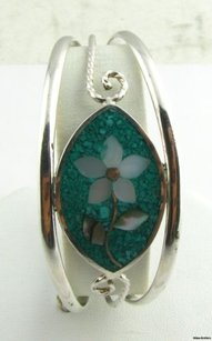 Flower Mosaic Cuff Bracelet - Abalone Turquoise Mother Of Pearl Fashion Estate