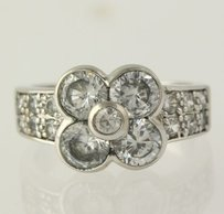 Other Flower Ring - Sterling Silver 925 Cubic Zirconia White Cz Cocktail