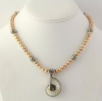 Freshwater Pearl Shell Pendant Necklace - Sterling Silver Bali Style 16.75