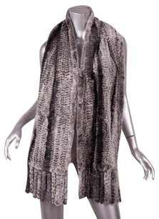 Genuine Rabbit Fur Classic Gray Striped Knitted Knit Fringe Wrap Scarf