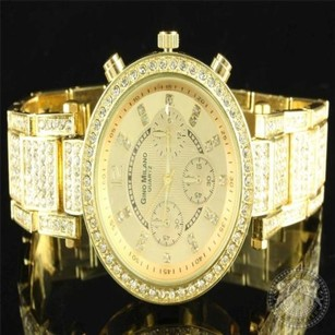 Gino Milano Womens Elegant Iced Metal Band Triple Dial Lab Diamond Golden Watch