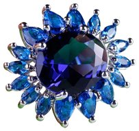 Glittering Blue Sapphire Ring Set in Sterling Silver ~ Size 8