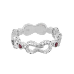 Other Glk 14k White Gold 0.50ct Diamond Red Stone Infinity Ring