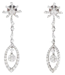 GLK 18K WHITE GOLD 1.09CT DIAMOND FLORAL DROP EARRINGS