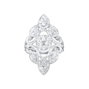 Other Glk 18k White Gold 1.65ct Diamond Embellished Petal Ring