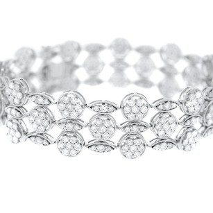Other Glk 18k White Gold 9.23ct Diamond Three Strand Bracelet