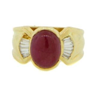 Other Glk 18k Yellow Gold Diamond And Ruby Ring