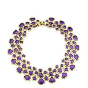 Gold Color Alloy Purple Enamel Choker Necklace