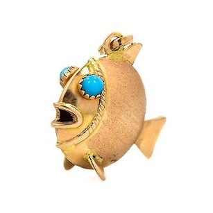 Other Gold Filled Fish Pendant With Turquoise Stone Eyes 4.9grams