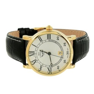 Gold Tone Watch Classy Black Leather Band Ny London White Roman Numerals