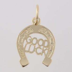 Good Luck Horseshoe Charm - 14k Yellow Gold Lucky Western Fine Pendant