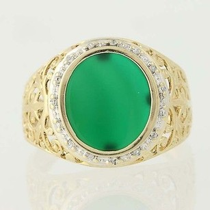 Other Green Chalcedony Diamond Ring - 10k Yellow White Gold Oval Halo .07ctw