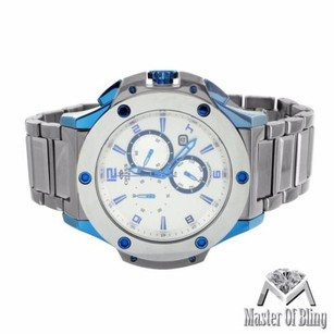 Grey Blue Finish Watch White Dial Mens Real Tungsten Oniss Custom Water Resist