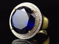 Mens Yellow Gold Finish Blue Sapphire And Genuine Diamond Statement Ring 1 Ct